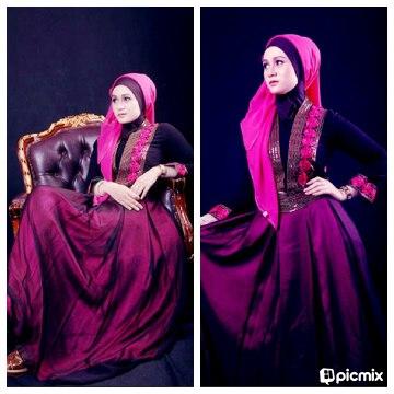 Gaun Pesta Muslimah Roseblack Pink