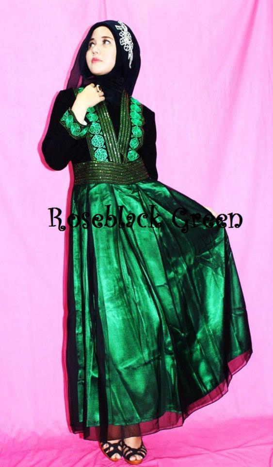 Dress Pesta Eksklusiv Roseblack Green