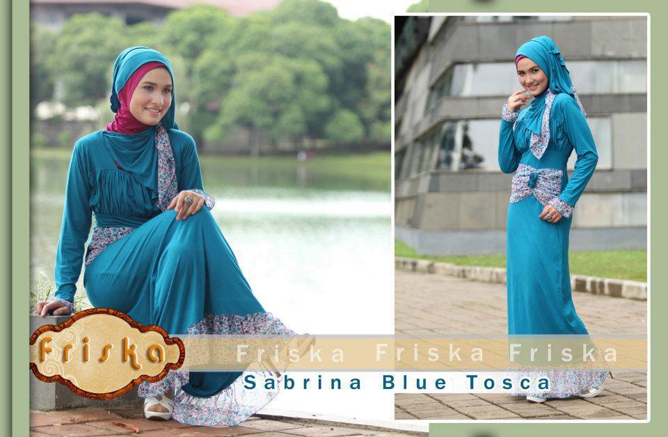 kode sabrina blue tosca harga rp 265 000 1 set gamis+ pashmina