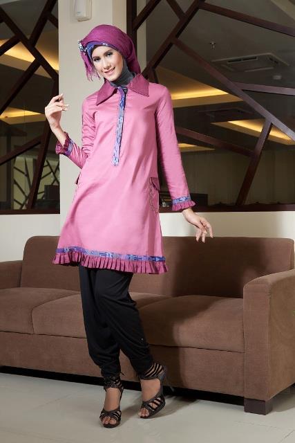 Tunik muslimah atasan ts 14 pink