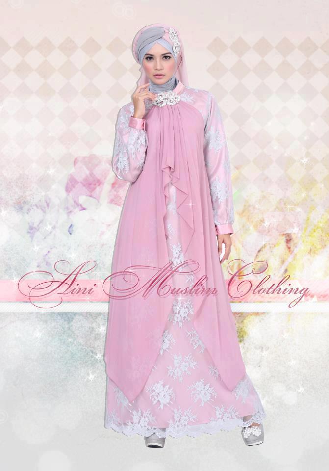 Gaun Pesta Bahan Sifon Busana Muslim Baju Muslim Pusat