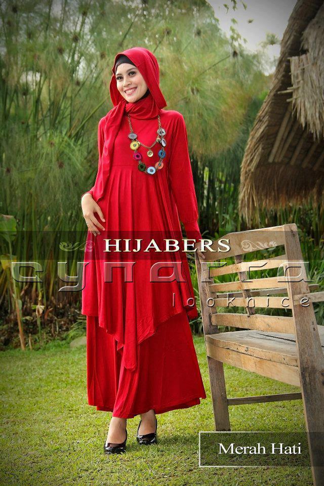 Dress Hijaber Merah Hati Busana Muslim Baju Muslim Pusat Busana