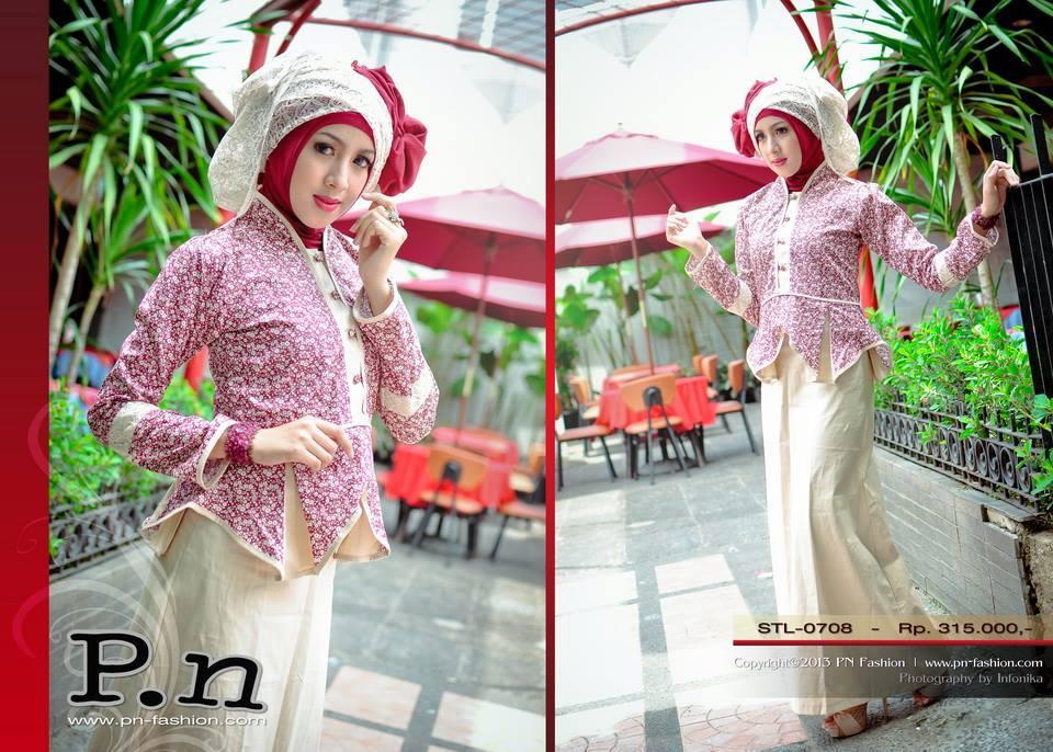 Pn Stl 0708 Merah Krem Busana Muslim Baju Muslim Pusat